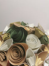 Load image into Gallery viewer, Origami Paper Flowers - Natural Greens & Browns (bunch of 13)