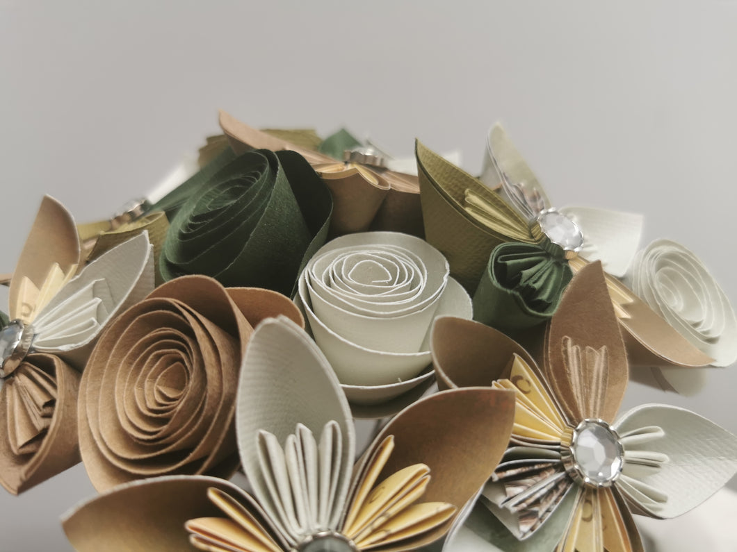 Origami Paper Flowers - Natural Greens & Browns (bunch of 13)