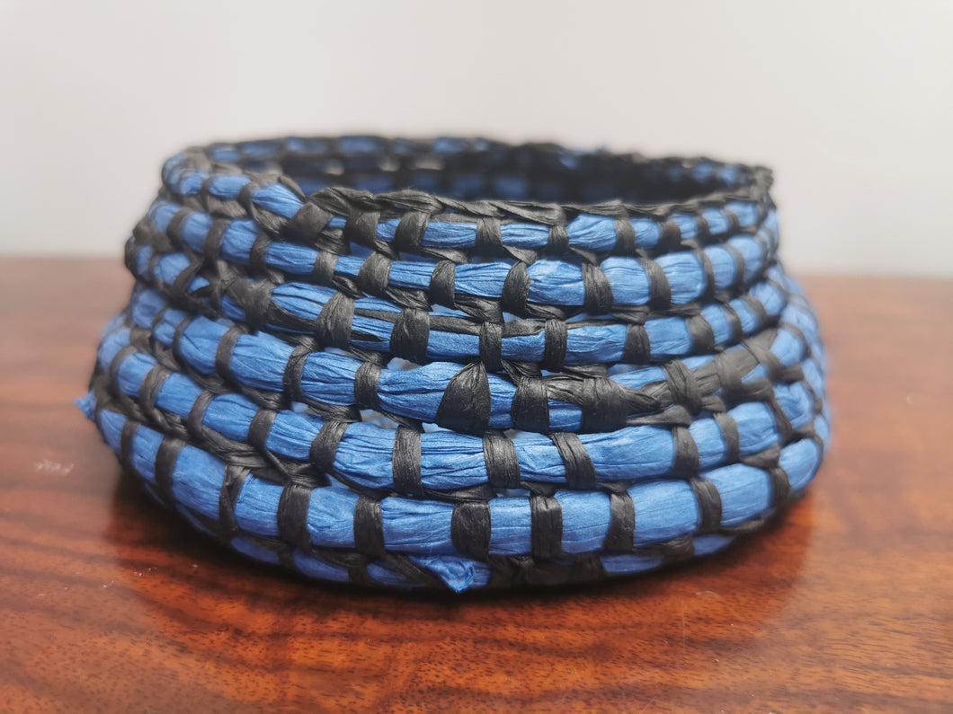 Coil Basket - Blue & Black Paper Raffia
