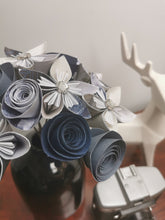Load image into Gallery viewer, Origami Paper Flowers - Blue & White mix (bunch of 10)