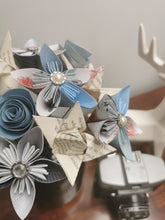 Load image into Gallery viewer, Mixed Origami Paper Flowers - Blue & book page mix (bunch of 10)