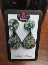 Load image into Gallery viewer, DD Earrings - Blue floral pattern