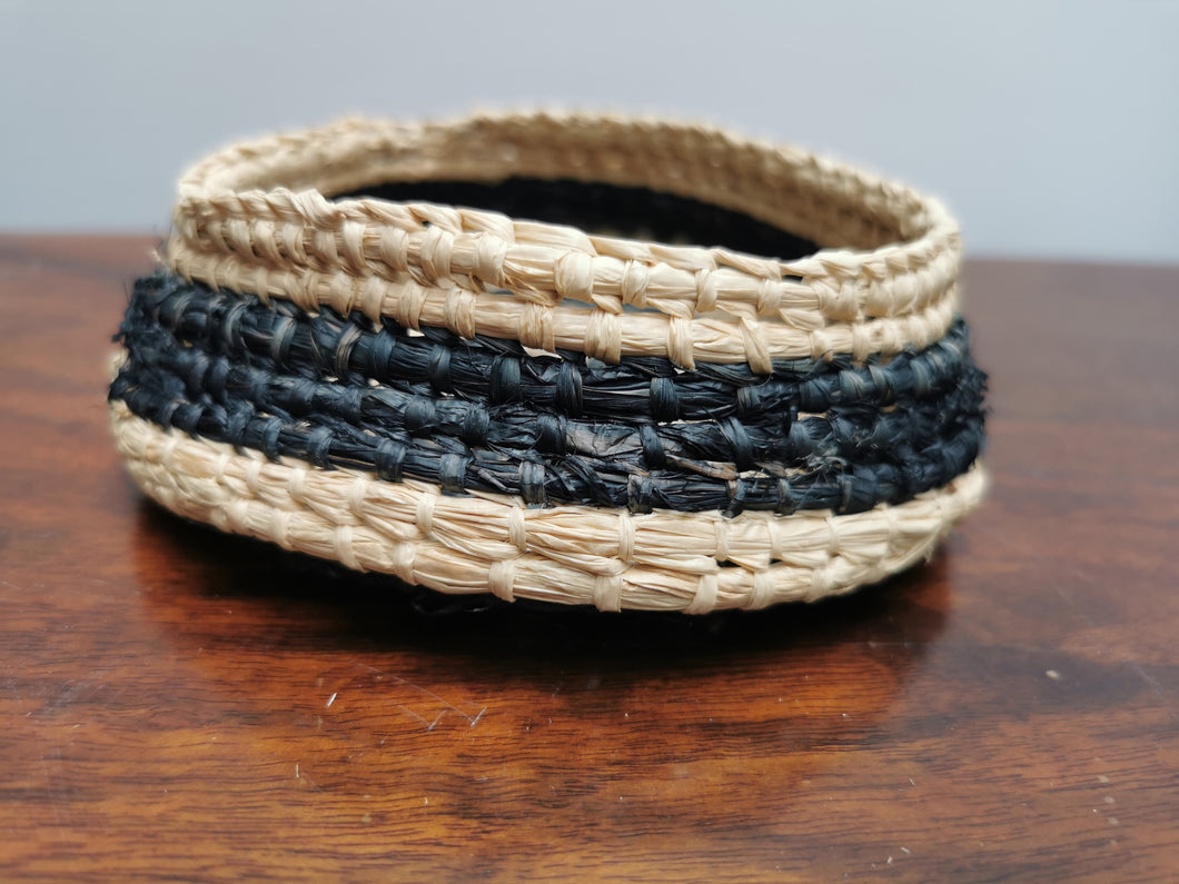 Coil Basket - Natural & Black Raffia