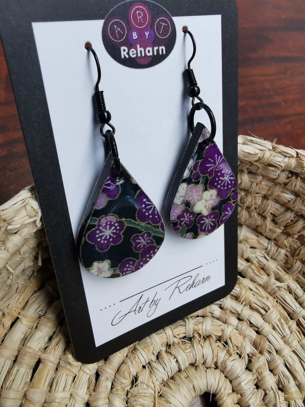 SD Earrings - Purple, Black & White Chiyogami pattern