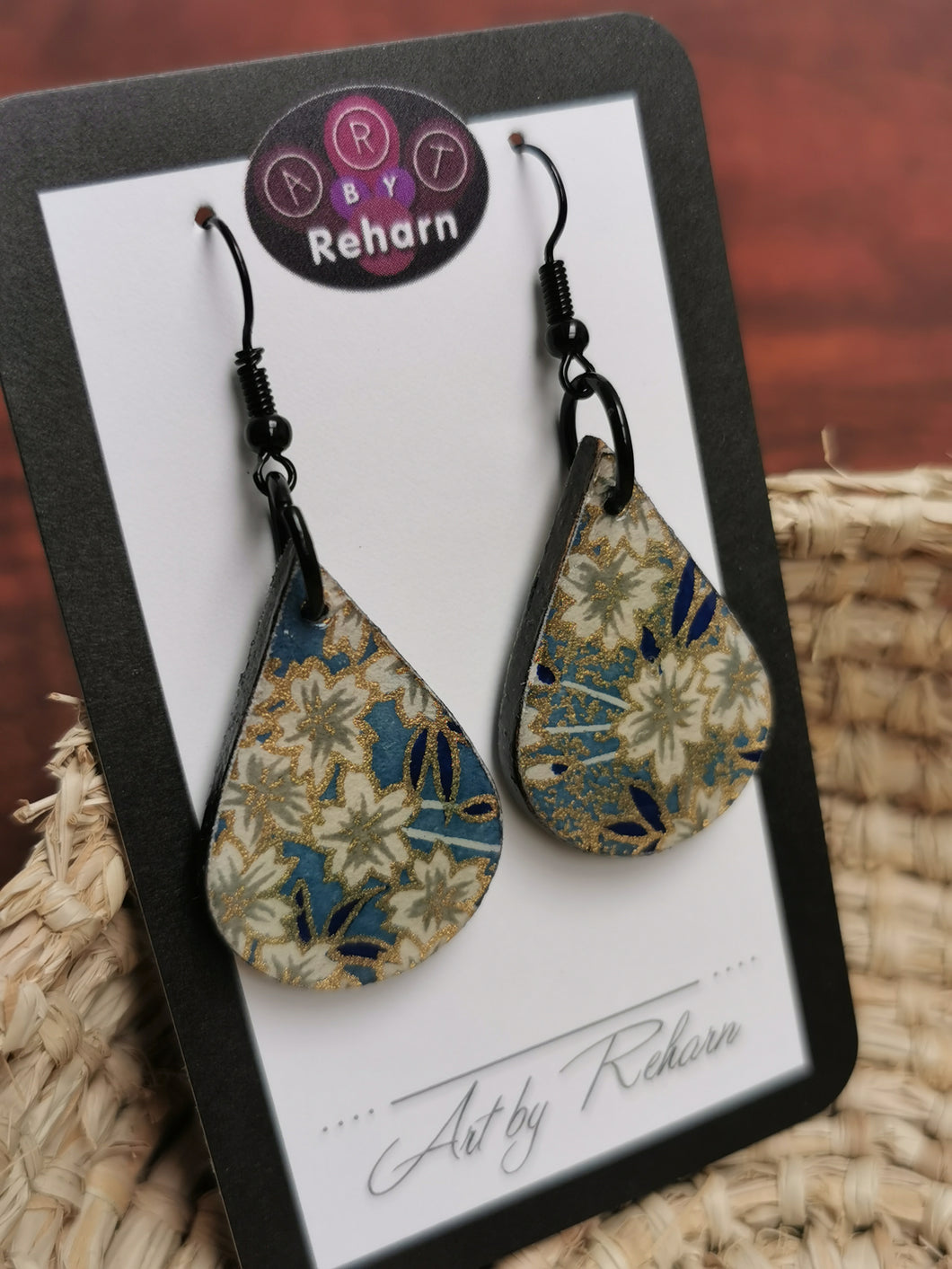 SD Earrings - Blue, White & Gold Floral Chiyogami pattern