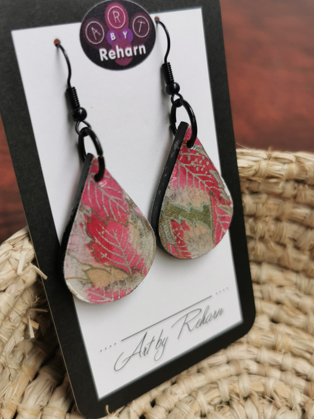 SD Earrings - Pink, White & Gold Floral Chiyogami pattern