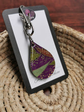 Load image into Gallery viewer, Bag or Key Tag - Purple, Green & Chiyogami Leaf pattern
