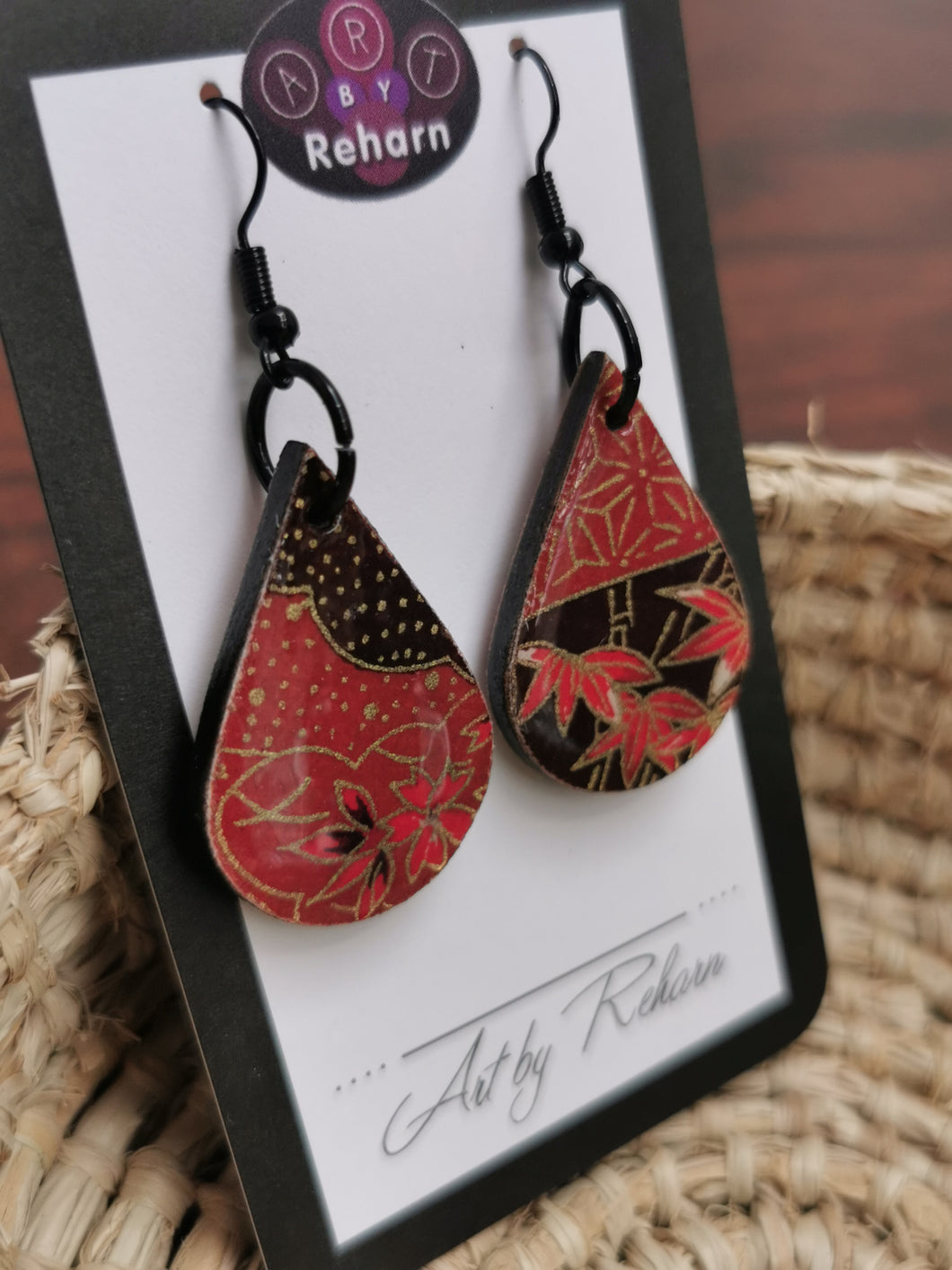 SD Earrings - Earthy Red, Black and Gold Chiyogami pattern