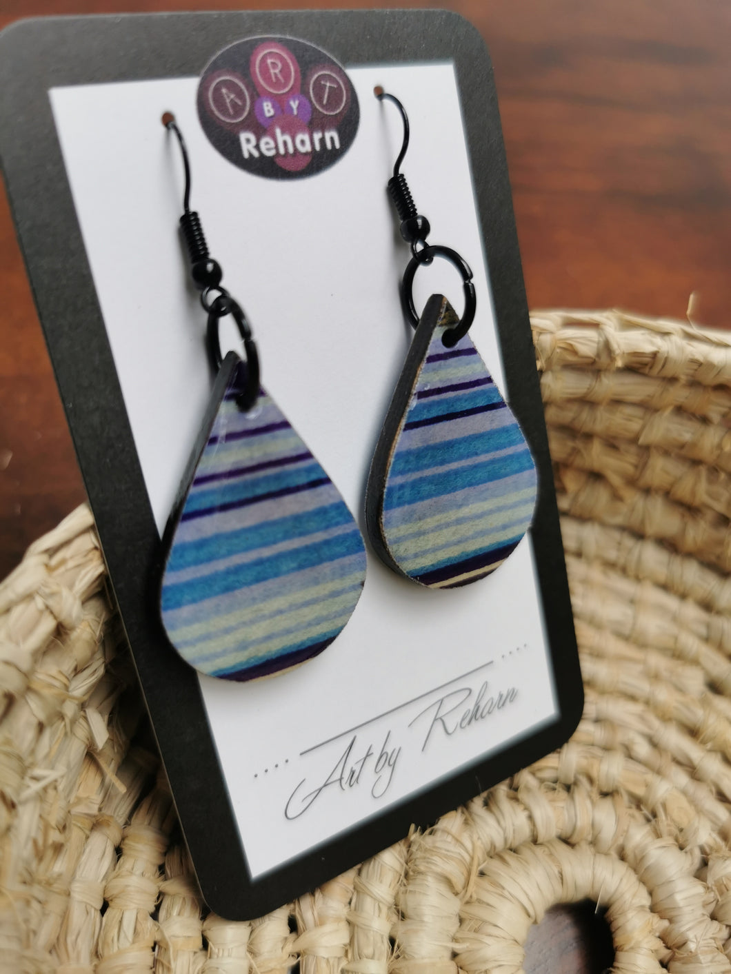 SD Earrings - Purple & Blue Stripe pattern