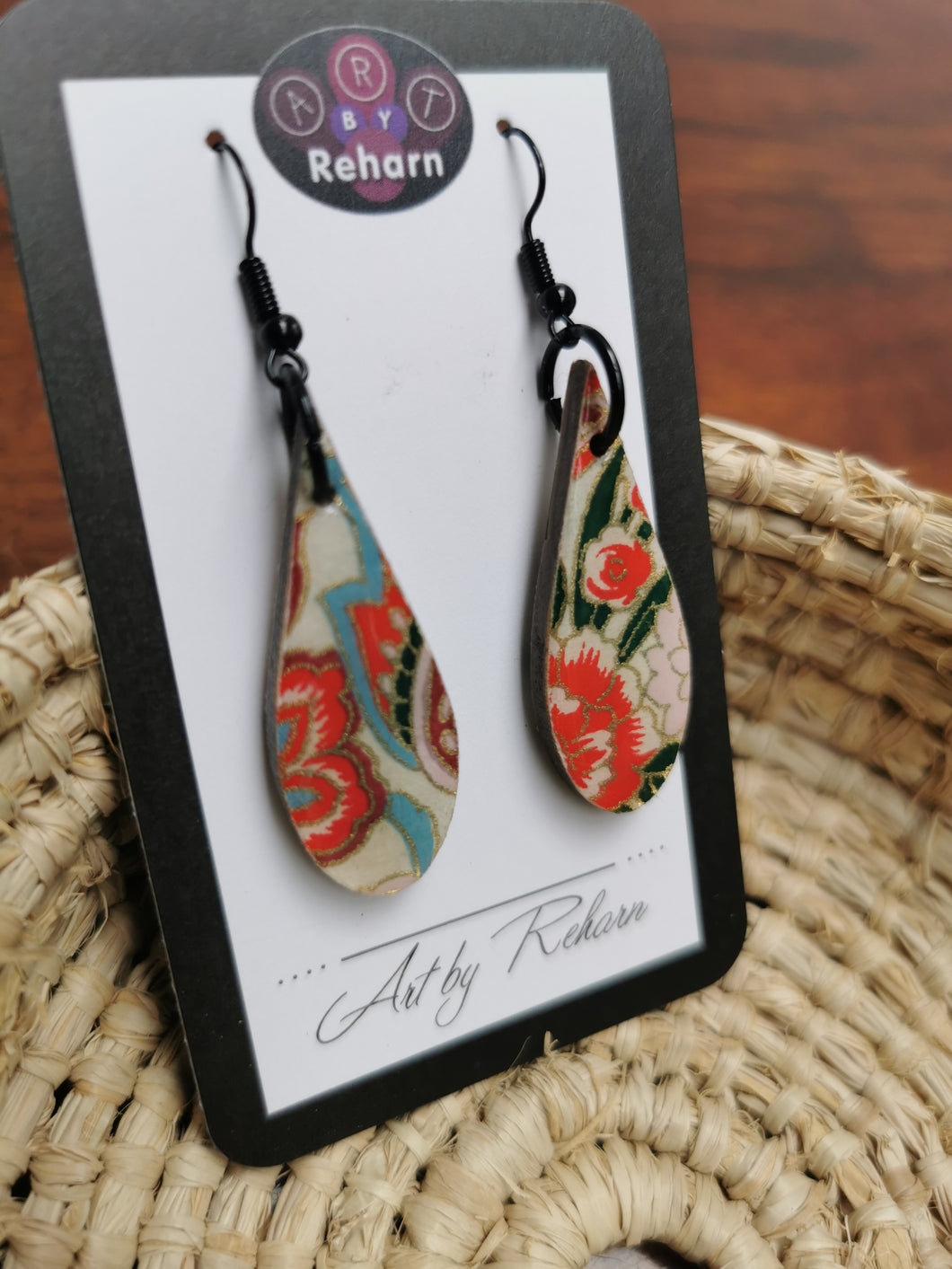 SD Earrings - Red, Blue & White Chiyogami pattern
