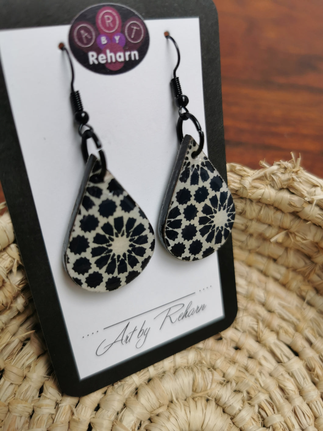 SD Earrings - Black & White pattern