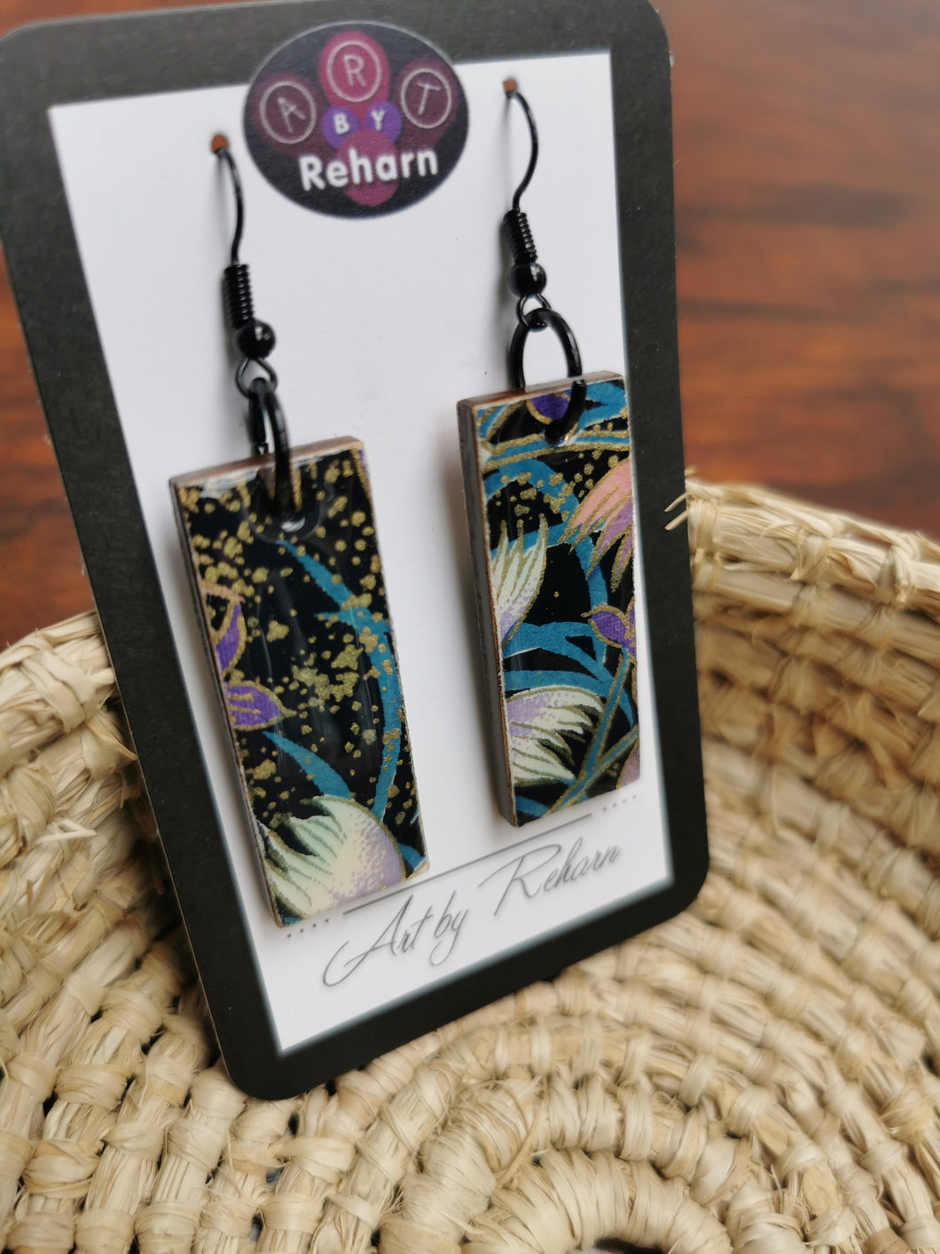 SD Earrings - Black, Blue & White Chiyogami pattern