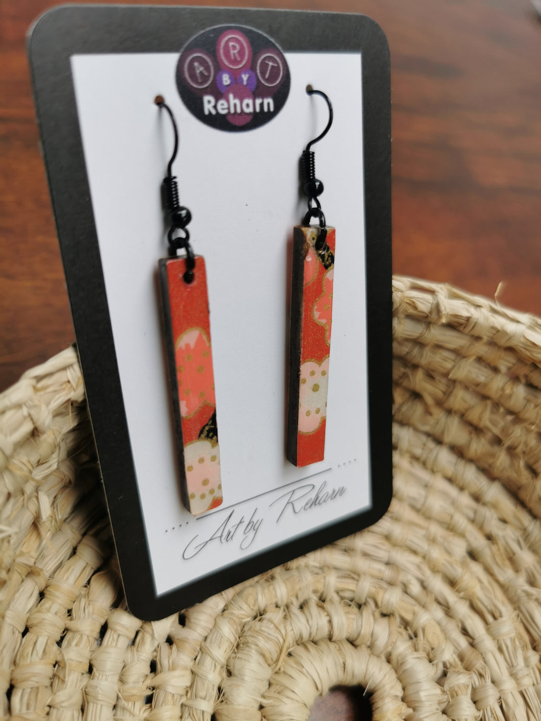 SD Earrings - Pinky Red, Black and Gold Chiyogami pattern