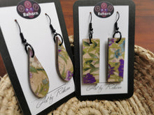 Load image into Gallery viewer, SD Earrings - Cream, green & lilac Chiyogami pattern