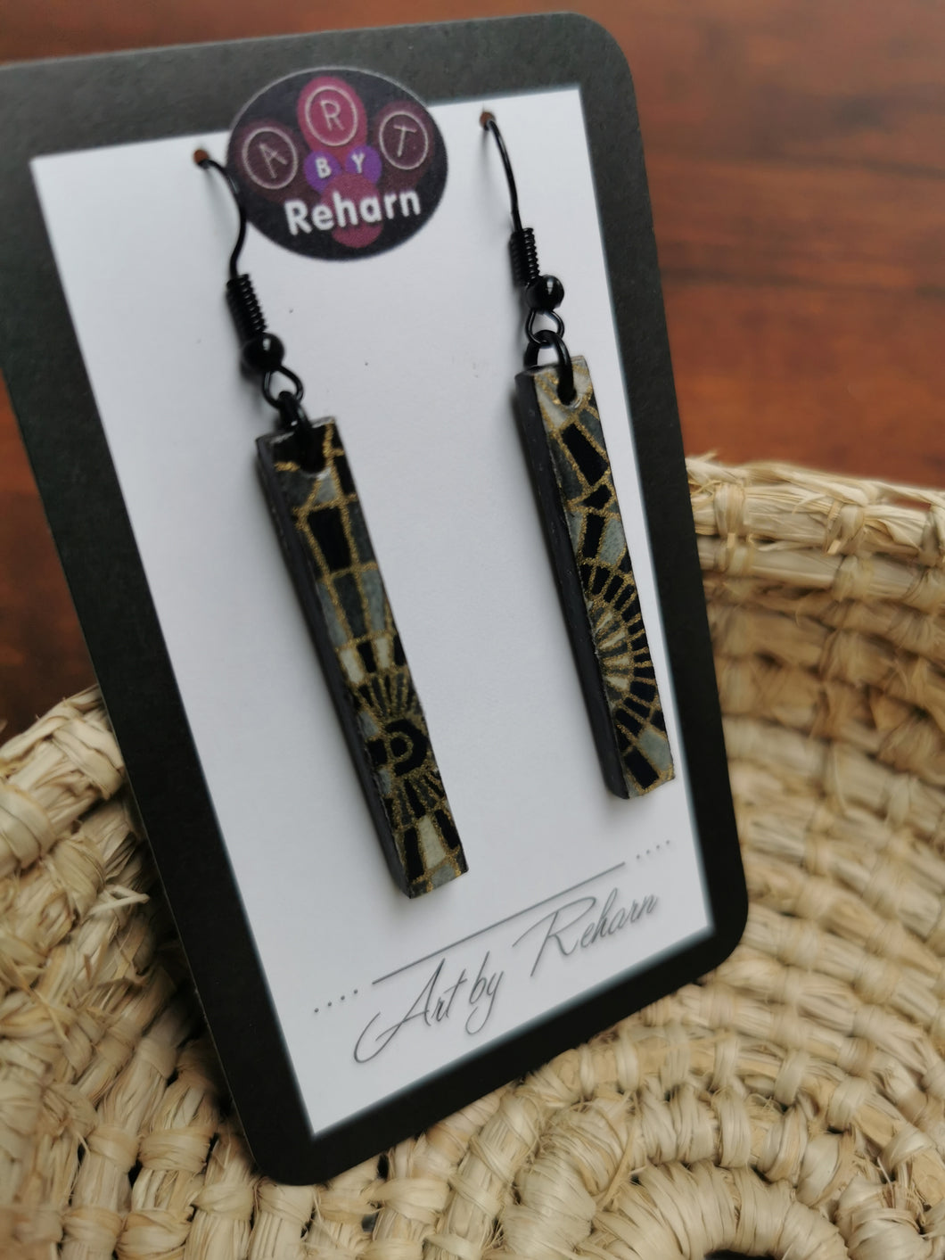 SD Earrings -Black, Grey and Gold Chiyogami pattern