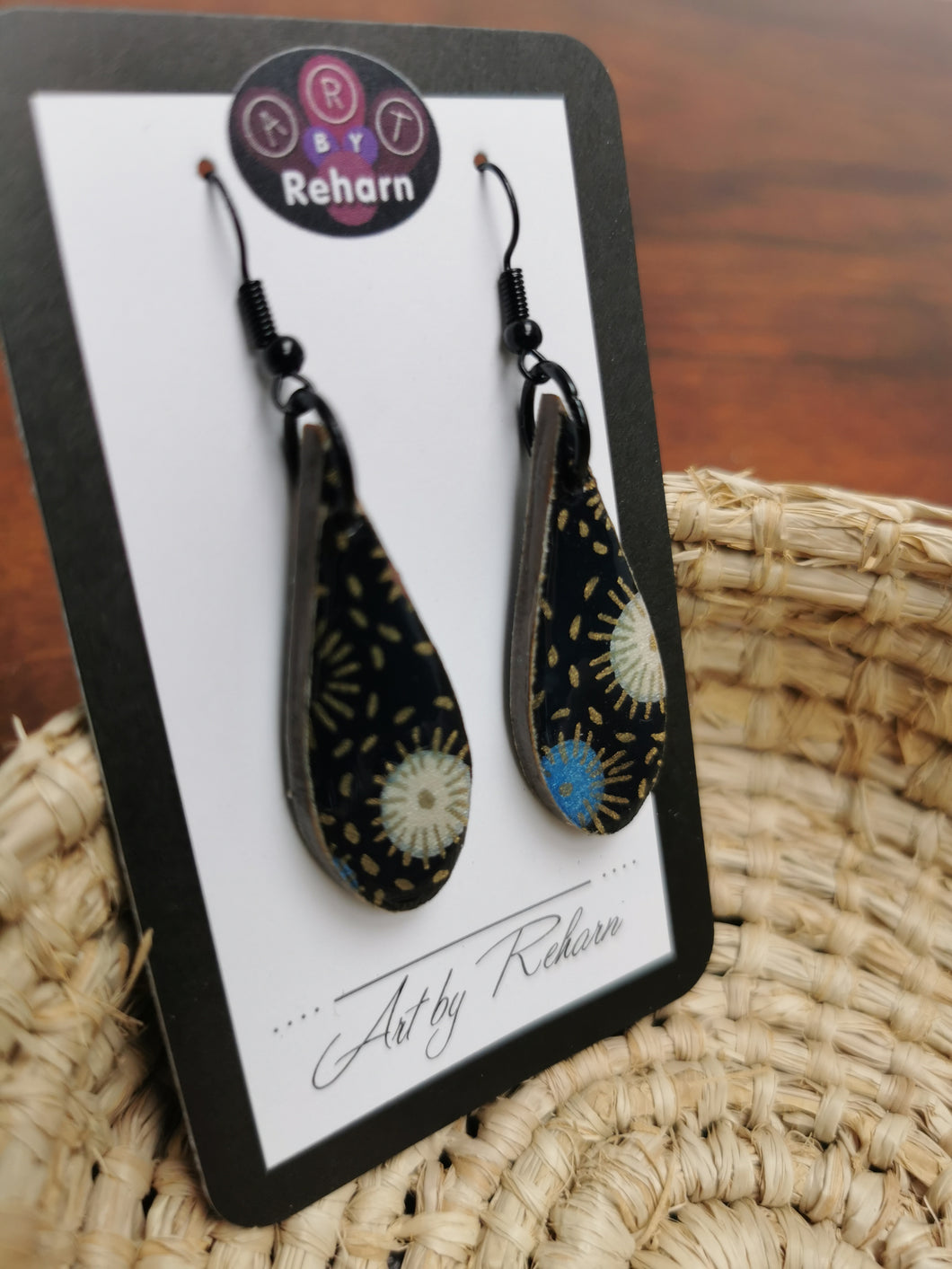 SD Earrings -Black, Blue and Gold Chiyogami pattern