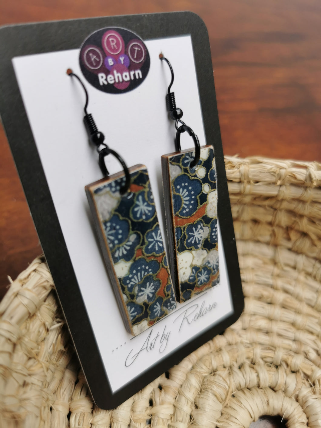 SD Earrings - Blue Cherry Blossom Chiyogami pattern