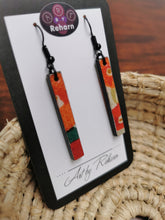 Load image into Gallery viewer, SD Earrings - Green & Orange Leaf Chiyogami pattern