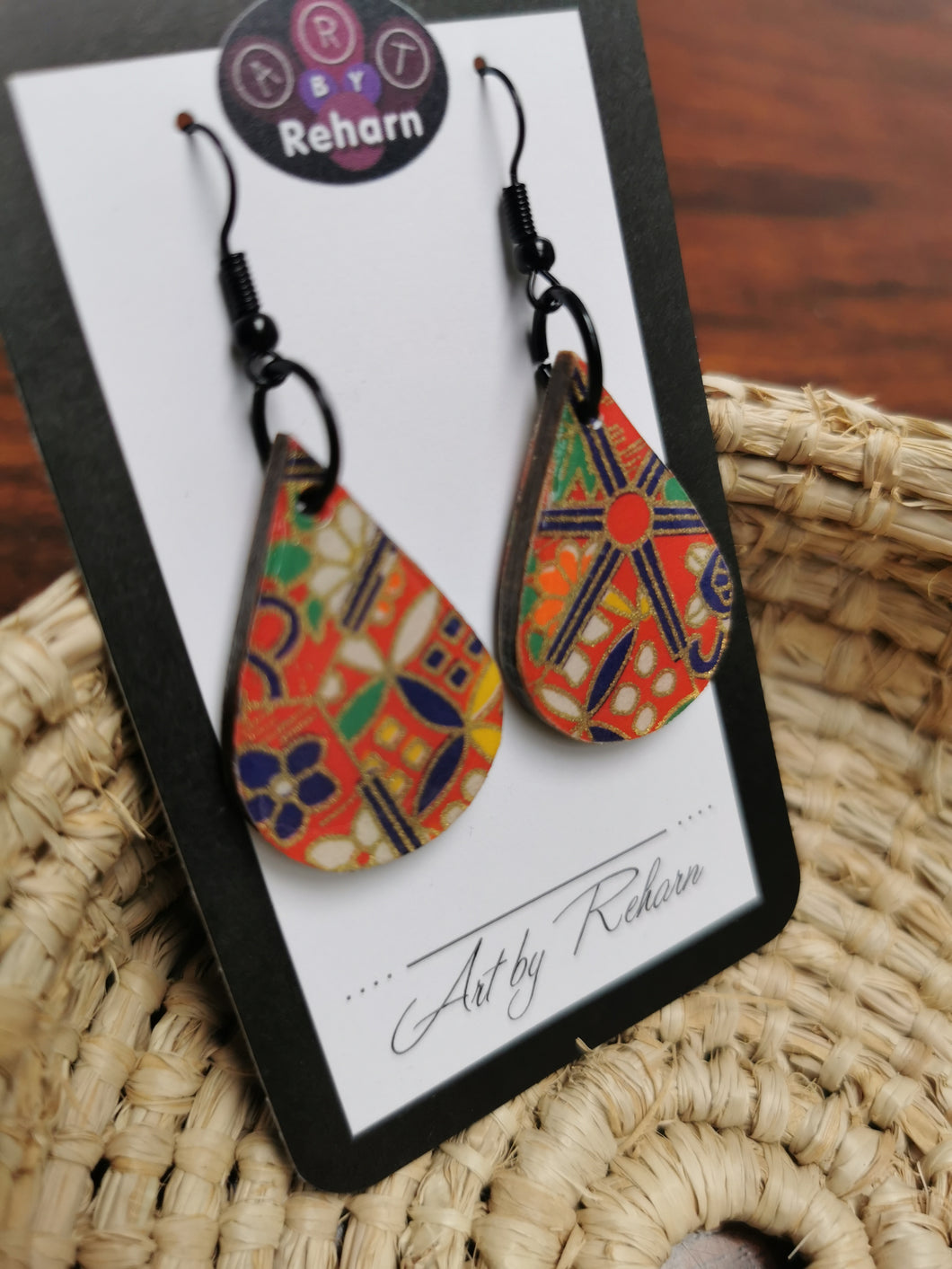 SD Earrings - Red & Navy chiyogami pattern