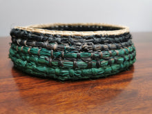 Load image into Gallery viewer, Coil Basket - Natural, Green & Black Paper Raffia