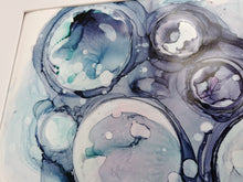 Load image into Gallery viewer, Original Ink Artwork - Teal & Blue Bubbles