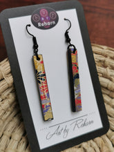 Load image into Gallery viewer, SD Earrings - Red, Black, Purple and Gold Chiyogami pattern