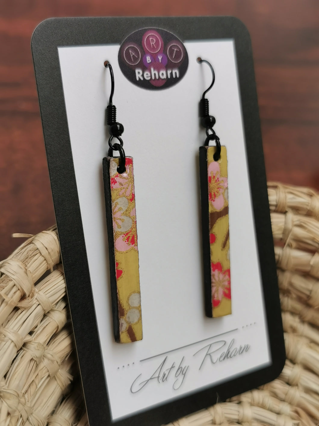 SD Earrings - Yellow/Gold Cherry Blossom pattern