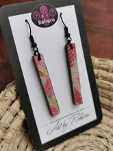 Load image into Gallery viewer, SD Earrings - Pink, White & Gold Floral Chiyogami pattern
