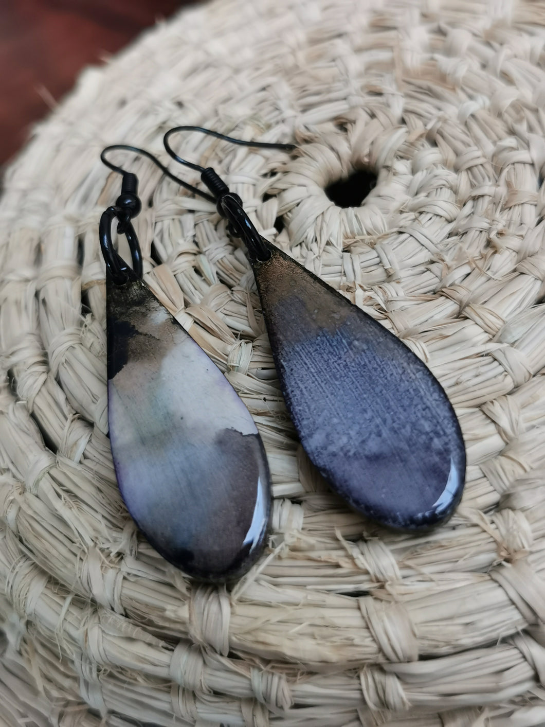 SD Earrings - Hand-painted Ink- Grey Long Tear-drop