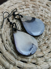 Load image into Gallery viewer, SD Earrings - Hand-painted Ink- Grey Wide Tear-drop