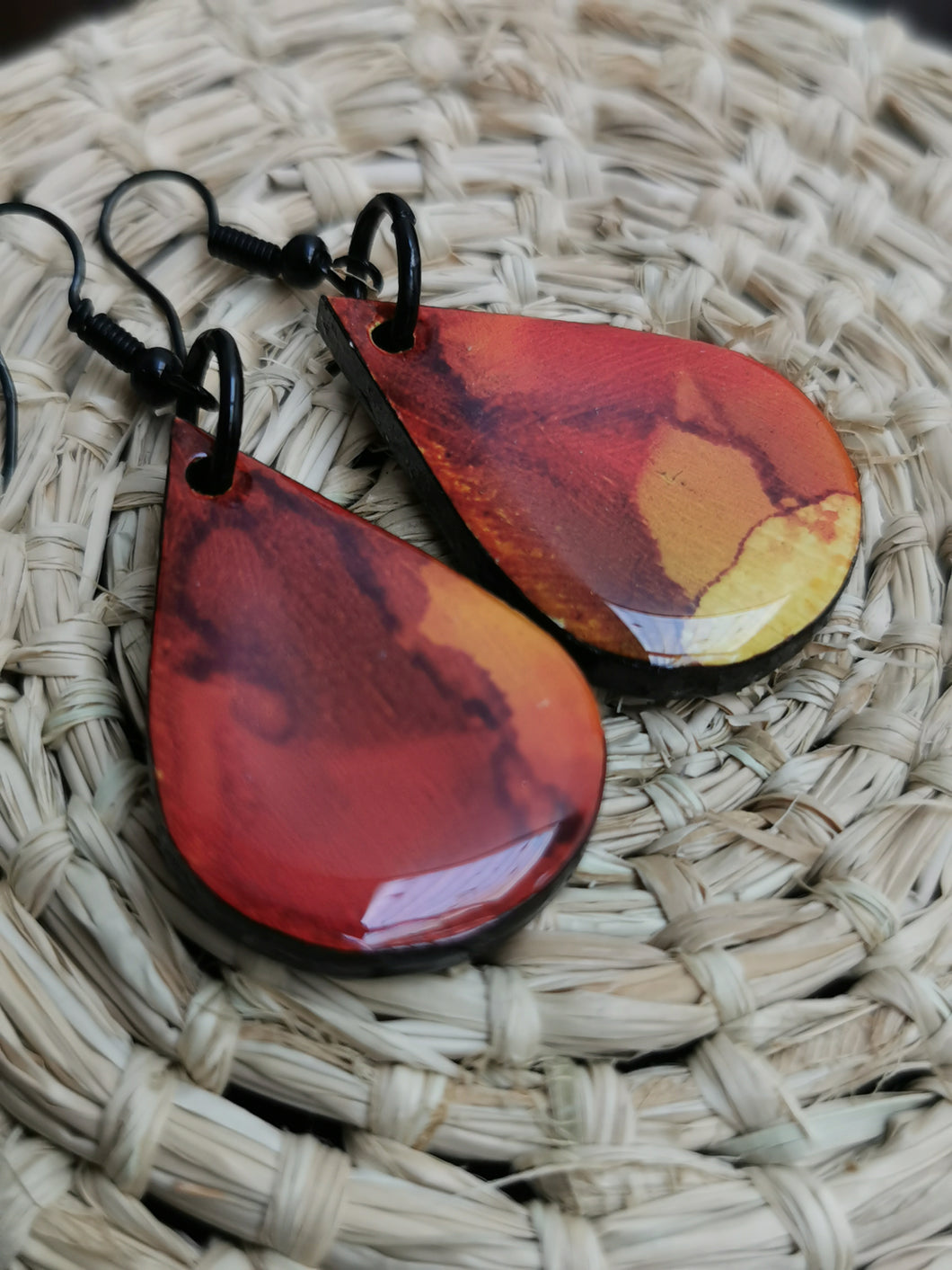 SD Earrings - Hand-painted Ink- Red & Orange Wide Tear-drop