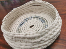 Load image into Gallery viewer, Coil Basket - White & Sea Blue/Grey Paper Raffia