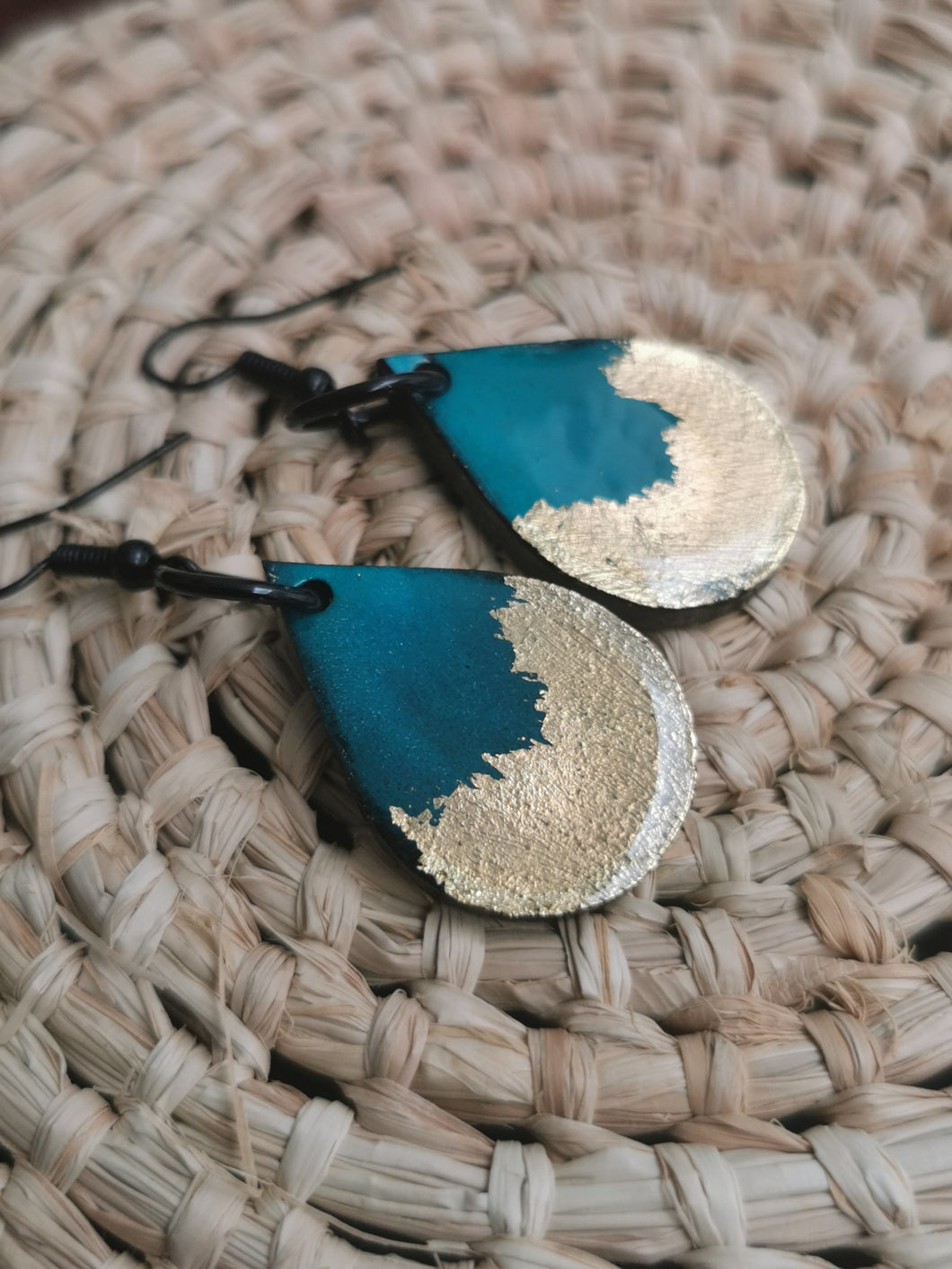 SD Earrings - Hand-painted Ink- Deep Green/Teal