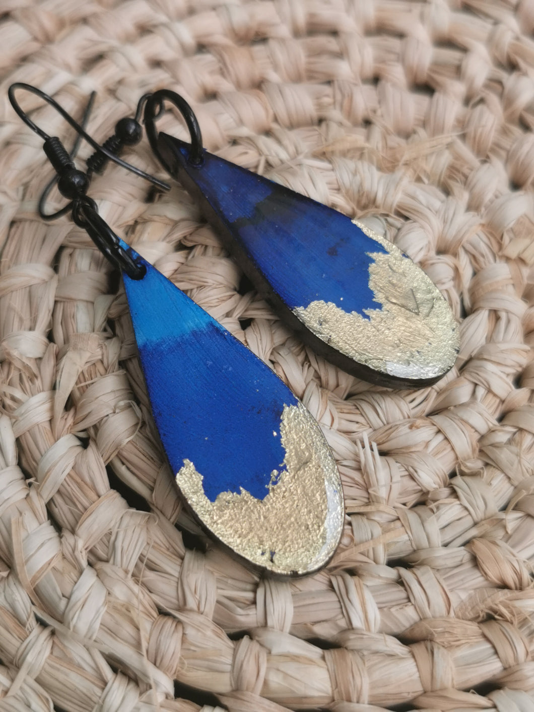 SD Earrings - Hand-painted Ink- Blue with Gold Leaf