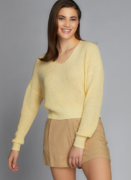 Crop V Neck Knit Top
