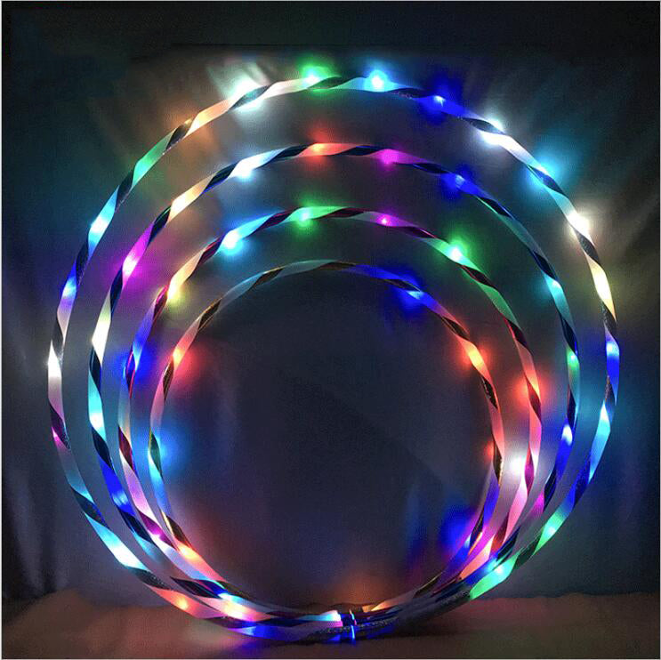 60/70/80/90cm LED Glow Hula Hoop Multicolor Hoop Kids Adult Loose Weight Toy