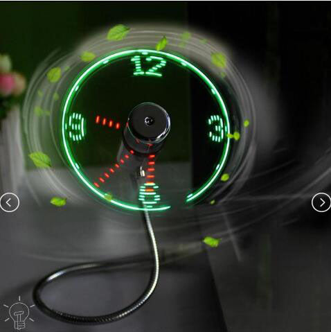 Flexible USB Clock Fan with Adjustable Glowing LED Light - Colorful
