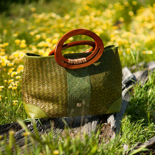 Lunar Woven Bag with Wooden Handle