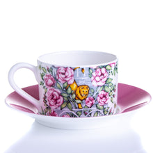Load image into Gallery viewer, Back of fine bone china cup and saucer set floral Emmas Kitchen Longleat