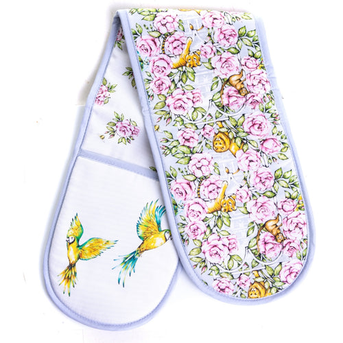 Double oven glove floral vintage kitchenware Emmas Kitchen Longleat gifts