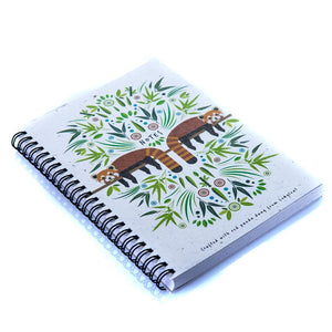 A5 Wiro Bound Notebook Red Panda Poo Paper Collection Longleat Shop