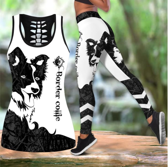 Border Collie Tattoo Women Tank Top & Legging 05