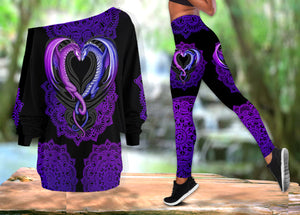 Dragon Purple One Off Shoulder Long Sleeve Shirt & Legging 01