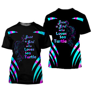 Girl Who Loves Sea Turtle 3D All Over Printed Shirts For Men And Women 05