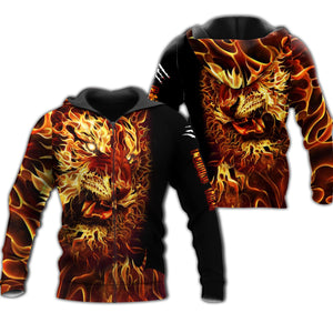 Fire Tiger 3D All Over Printed Shirts For Men And Women 08
