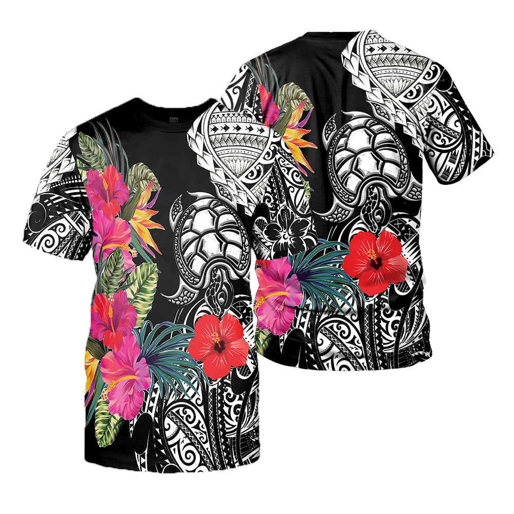 Polynesian Sea Turtle Tattoo and Hibiscus 3D All Over Printed Shirts For Men And Women 18