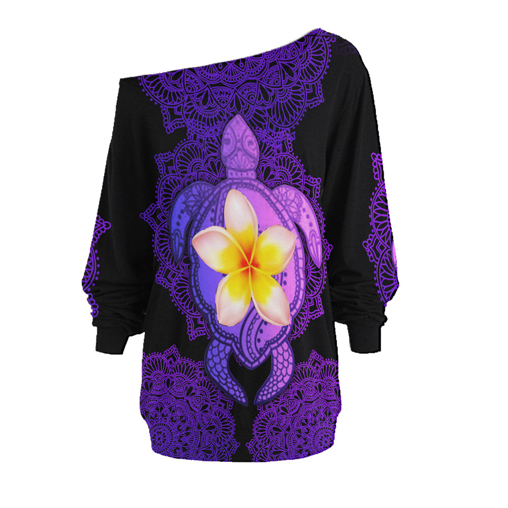 Amazing Mandala Sea Turtle  One Off Shoulder Long Sleeve Shirt & Legging 25