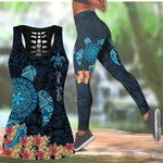 Load image into Gallery viewer, Amazing Sea Turtle Tattoo and Hibiscus Women Tank Top & Legging 26