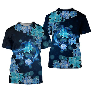 Blue Heart Turtle 3D All Over Printed Shirts For Men And Women 51