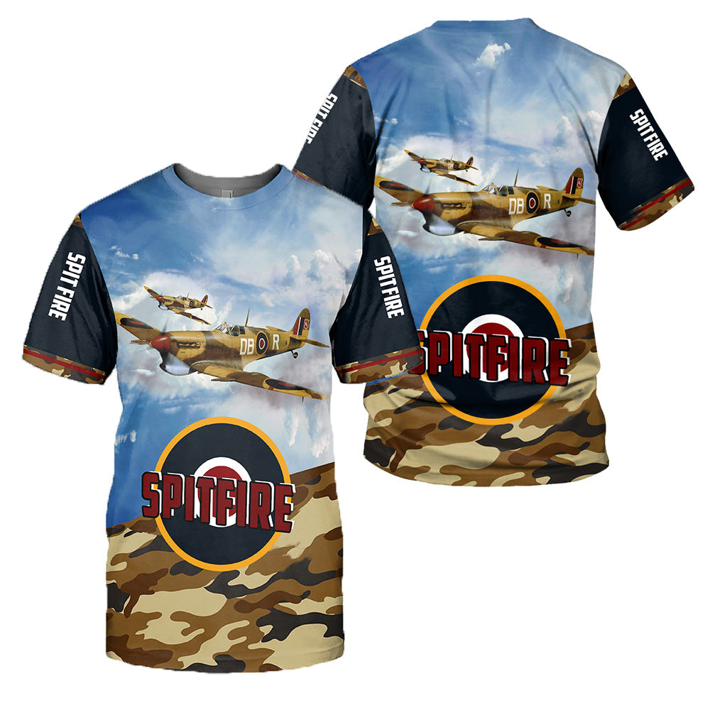 Spitfire 3D All Over Printed Shirts For Men And Women 27